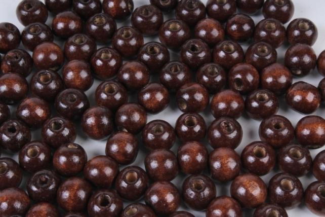Бусины дерево  круглые коричневые (12мм) в пакете 50гр