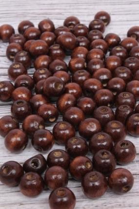 Бусины дерево  (С)  круглые  коричневые (12мм) в пакете 100гр