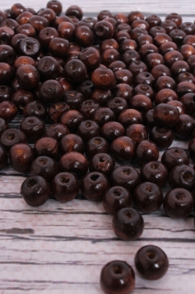 Бусины дерево  (С)  круглые  коричневые (8мм) в пакете 100гр