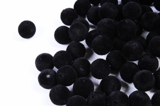 Бусины  12мм Круглые бархат чёрные  (100гр)