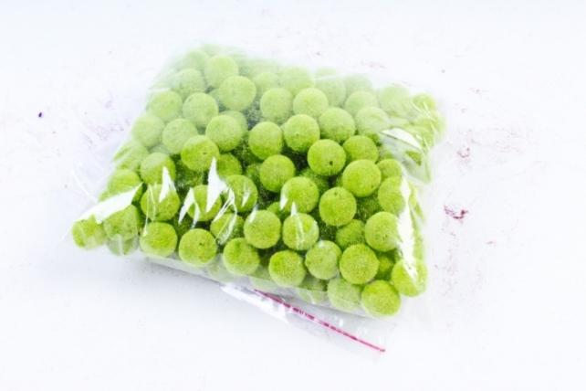 Бусины  12мм Круглые бархат салатовые  (100гр)