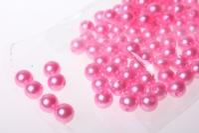Бусины Круглые цветные 10мм (50гр) PL цвета в ассортименте - Розовые