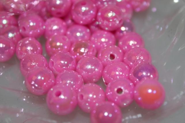 Бусины Круглые цветные 10мм (50гр) PL в ассортименте - Розовый