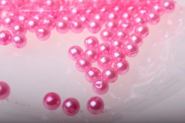 Бусины Круглые цветные (6мм) в пакете 50гр PL в ассортименте - Розовый