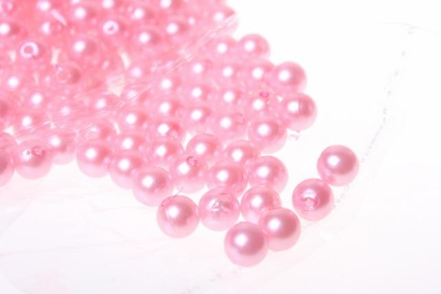 Бусины Круглые цветные 8мм (50гр) PL цвета в ассортименте - Розовый