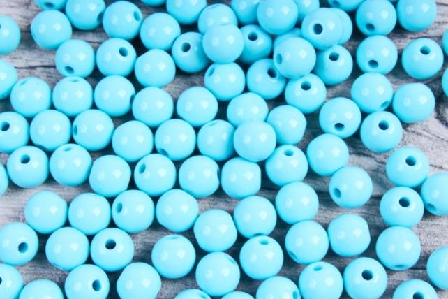 Бусины  8мм Круглые матовые Голубые KN010 (50гр)