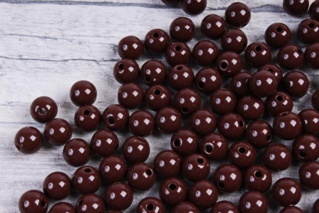 Бусины  8мм Круглые матовые Шоколадные KN016 (50гр)
