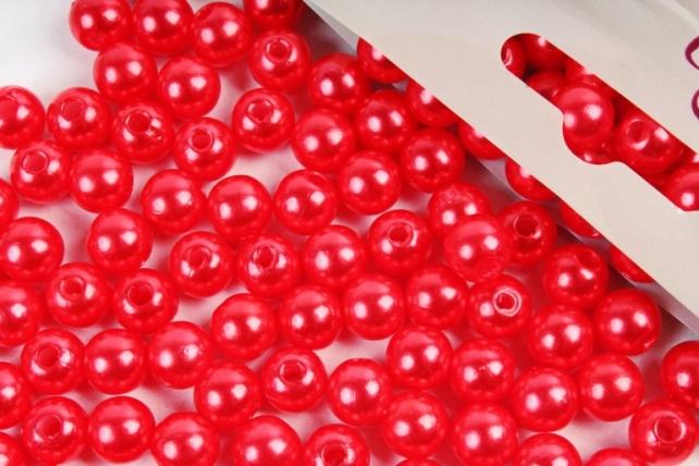 Бусины  8мм Круглые перламутр Красный алый  (50гр) PL в асс. 8MM9370
