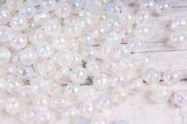 Бусины  6мм Круглые перламутр.  белые прозрачные  (50гр) 6MMAB1