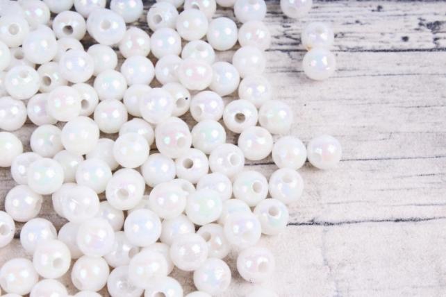 Бусины  6мм Круглые перламутр.  белые  (50гр) 6MMAB41