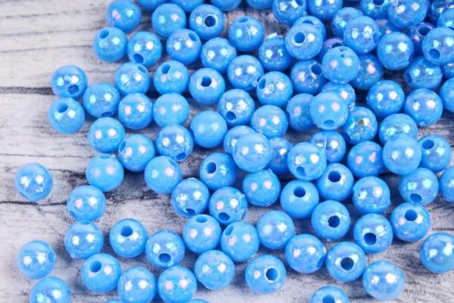 Бусины  6мм Круглые перламутр.  голубые  (50гр) 6MMAB148