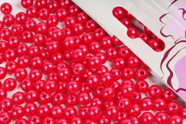 Бусины  6мм Круглые перламутр  Красный (50гр) PL в асс. K6-07