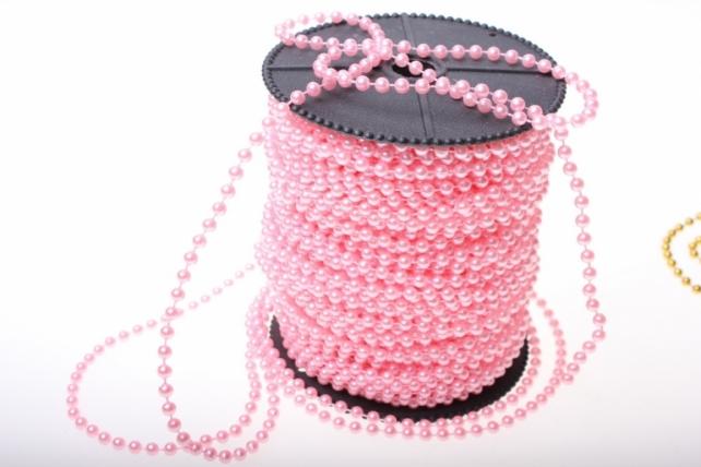 Бусины на бобине 4мм на 40м в ассортименте - Розовый
