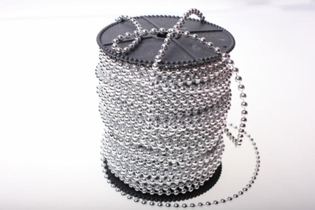Бусины на бобине 4мм на 40м в ассортименте - Серебро