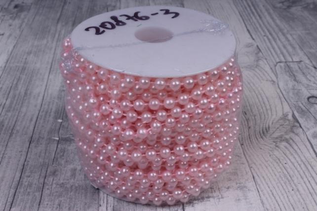 Бусины на бобине .6мм*20м светло-розовые жемчуг  9424  6ABS20M-P4