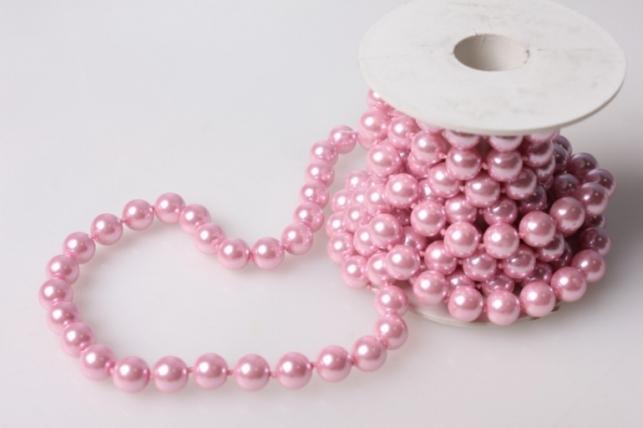 Бусины на катушке Розовые (100см)