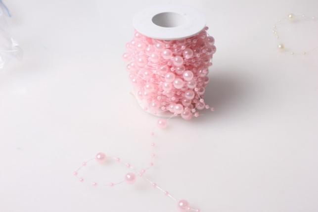 Бусины на катушке Розовые (130см)