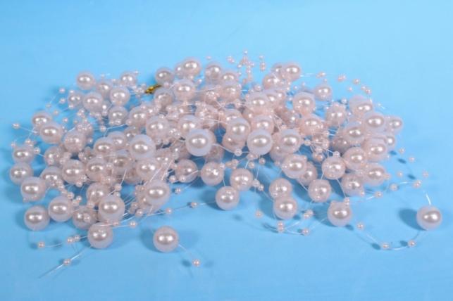 бусины на леске розовые круглые 1,2м (10шт в уп) 0075