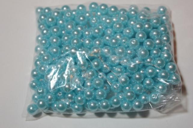 бусины 8 мм 100 гр. бусины перламутров. цветные  (8мм) в пакете 100гр голубые 1789