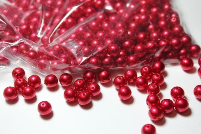 бусины 8 мм 100 гр. бусины перламутров. цветные  (8мм) в пакете 100гр красные 1789