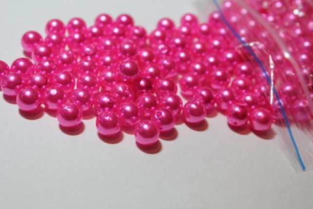 Бусины перламутров. цветные  (8мм) в пакете 100гр Розовые