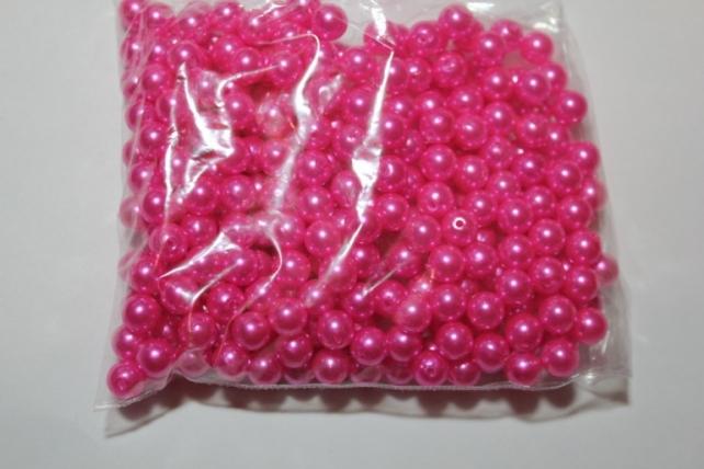 бусины 8 мм 100 гр. бусины перламутров. цветные  (8мм) в пакете 100гр розовые 1789