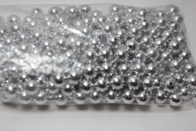 бусины 8 мм 100 гр. бусины перламутров. цветные  (8мм) в пакете 100гр серебристые 1789