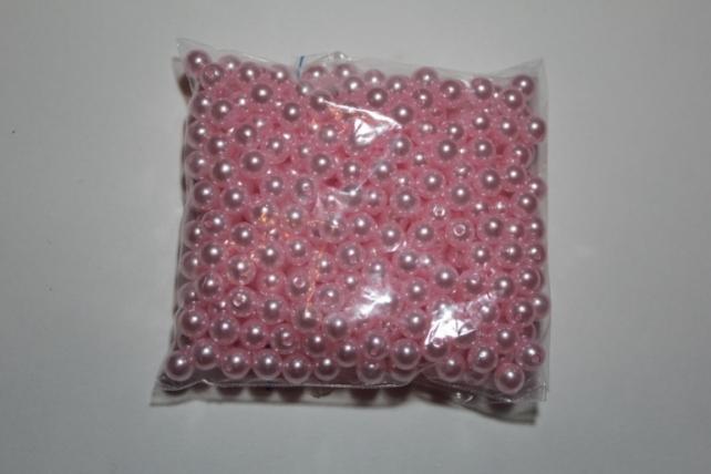 бусины 8 мм 100 гр. бусины перламутров. цветные  (8мм) в пакете 100гр светло-розовые 1789