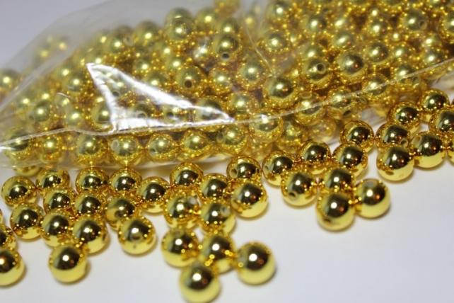 бусины 8 мм 100 гр. бусины перламутров. цветные  (8мм) в пакете 100гр золотые 1789