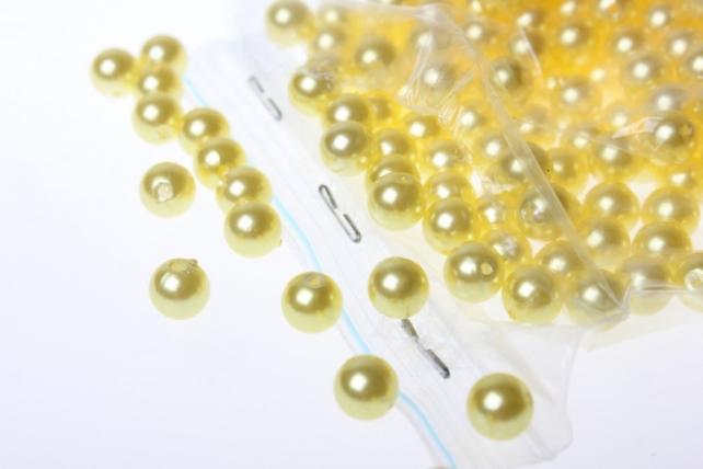 Бусины перламутровые цветные (8мм) в пакете 100гр в ассортименте - Желтые