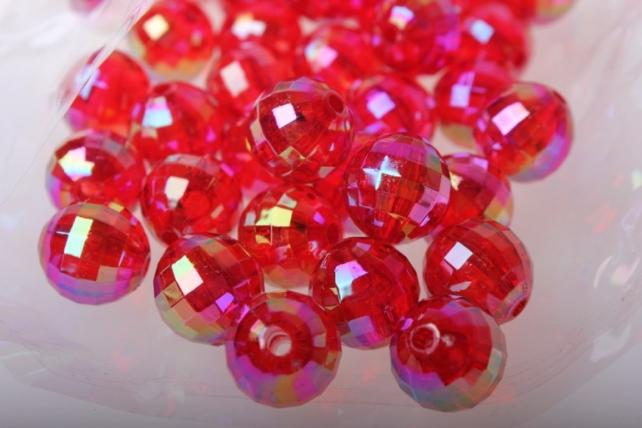 Бусины Перламутровые граненые (12мм) в пакете 50гр PL в ассортименте - Красный