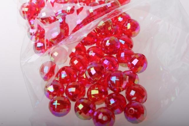 бусины 12 мм 50 гр. бусины перламутровые граненые (12мм) в пакете 50гр pl в ассортименте - красный 2383