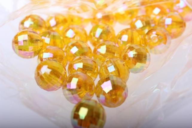 Бусины Перламутровые граненые (12мм) в пакете 50гр PL в ассортименте - Оранжевый