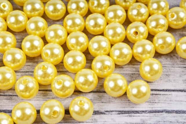 Бусины  10мм  Круглые Жёлтые (50гр) KN10-04