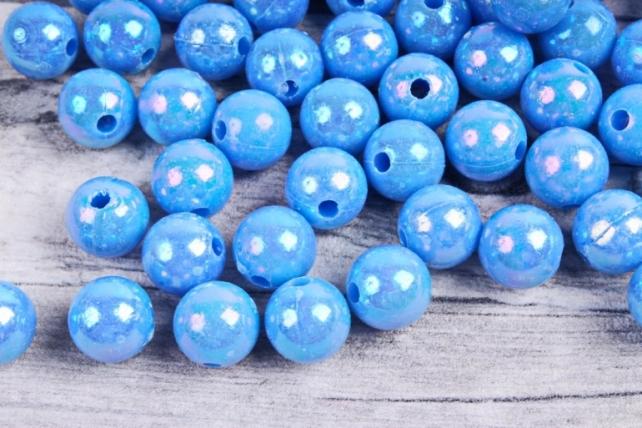 Бусины  10мм  Круглые Голубые перламутр (50гр) 10MMAB148