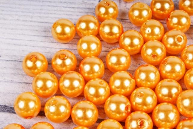 Бусины  10мм  Круглые Оранжевые (50гр) KN10-06