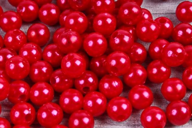 Бусины  8мм  Круглые перламутр Красные  (50гр) PL в асс. K8-07  6339