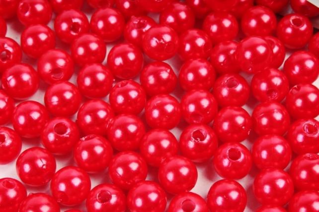 Бусины  8мм  Круглые перламутр. Красный  (50гр) PL в асс K8-07