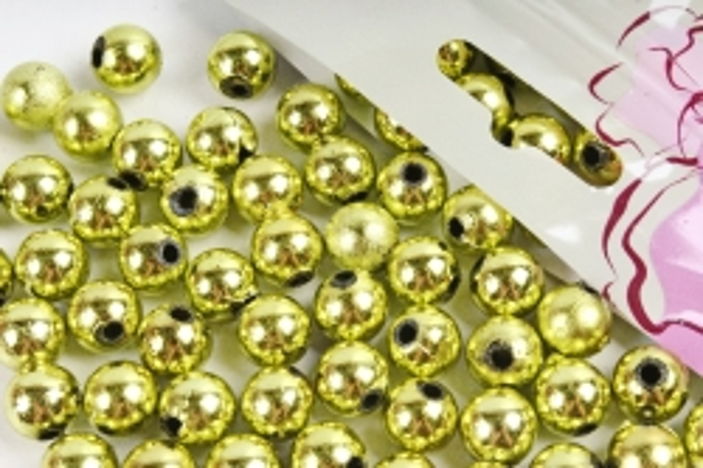 Бусины  10мм  Круглые Салатовый металл (50гр)  10MMCOL44
