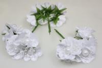 Бутаньерка Пион с бусиной белый (3 букета по 6шт)