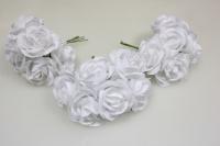 Бутаньерка Роза 3см белая (3 букет. по 6шт)