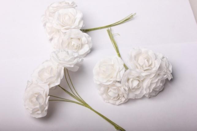 Бутаньерка Роза белая (6 букет. по 6шт)