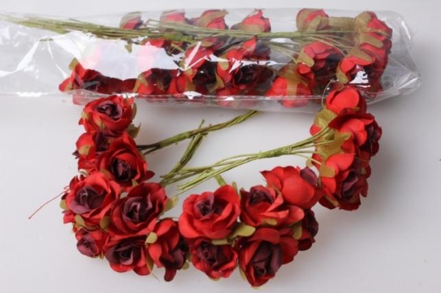 бутаньерка роза красная (10 букетов по 6шт)