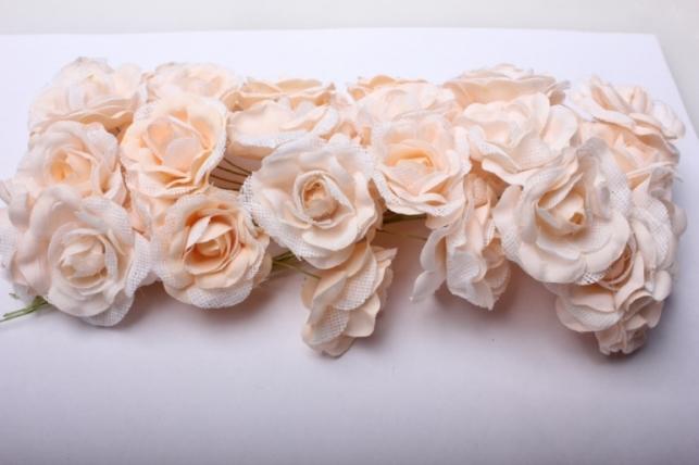 Бутаньерка Роза персиковая (6 букет. по 6шт)