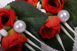 """бутон """"пион"""" (2шт в уп) красные пионы/белые тычинки h=12cm"""