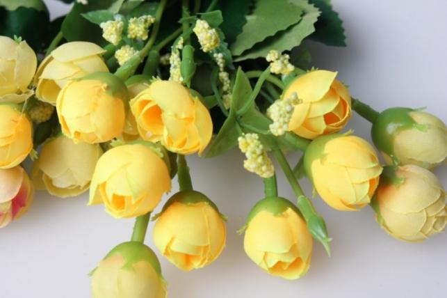 бутоны искусственные 1шт. розов/шампань/желтый/сирень цвета в асортименте