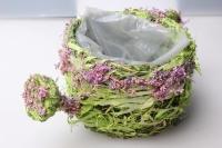 Чайник-кашпо из травы 14х14х10см