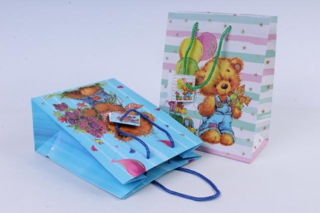 cумка люкс мишки с блестками детские (18*23*10) микс  (20шт в уп)  d14  цена за 1шт