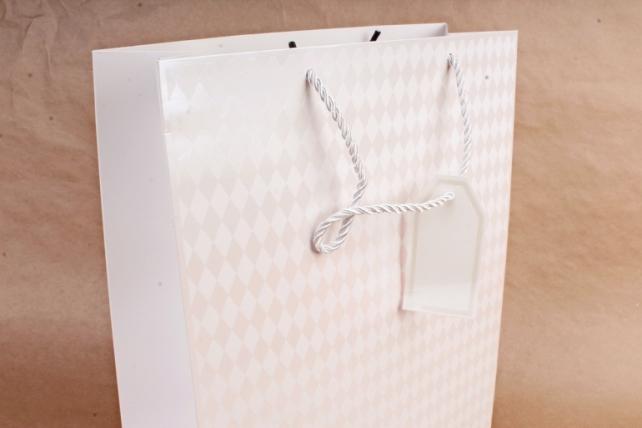 Cумка Люкс Ромбики белая   (12 шт/уп) Цена за 1шт  L755