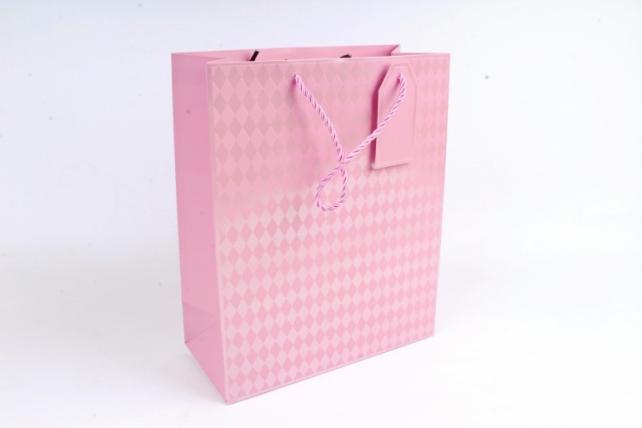 Cумка Люкс Ромбики розовая   (12 шт/уп) Цена за 1шт  L754